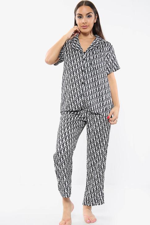 Satin Printed Pyjamas Trouser Set - Black
