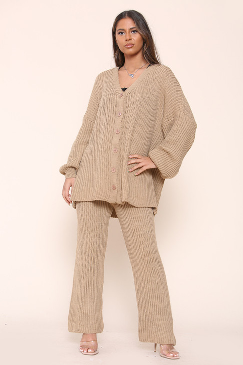 Oversized Knitted Cardigan Co-Ord Set