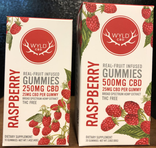 Wyld Broad Spectrum CBD Gummies 25mg Raspberry 20 count