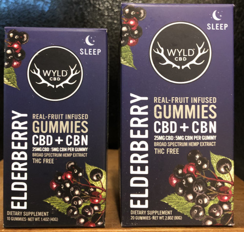 Wyld Broad Spectrum CBD/CBN Gummies 25mg/5mg Elderberry 20 count