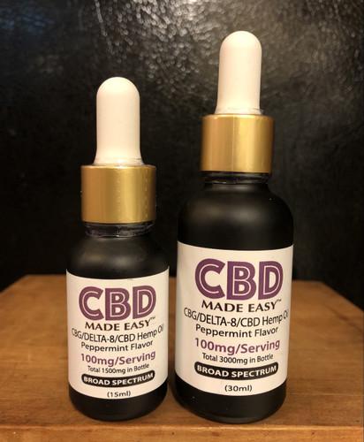 CBD Made Easy CBD/D8/CBG Hemp Oil, Peppermint, 0.5oz.