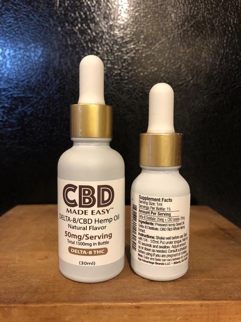 CBD Made Easy Delta 8/CBD 1:1 Hemp Oil Tincture Natural, 0.5oz