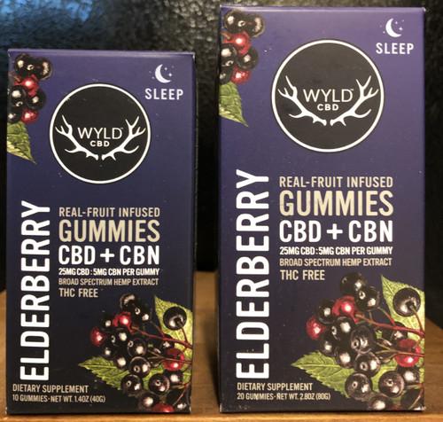 Wyld Broad Spectrum CBD/CBN Gummies 25mg/5mg Elderberry 10 count