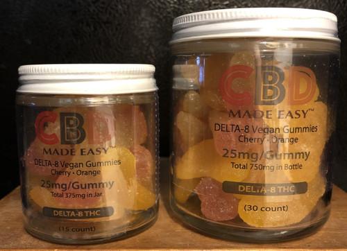 CBD Made Easy Delta 8 25mg Vegan Gummies 15 count