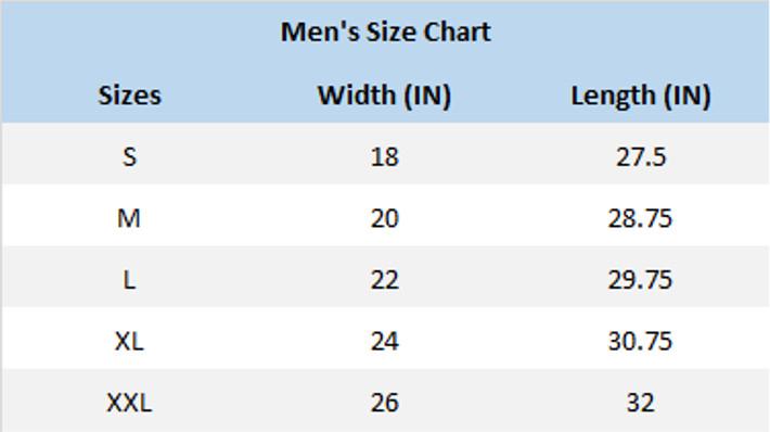 Bluegrass Hive and Honey Men's T-Shirt Size Chart