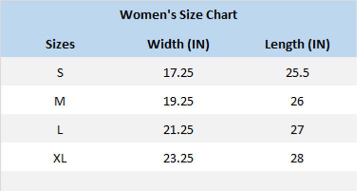 Bluegrass Hive and Honey Women's T-Shirt Size Chart