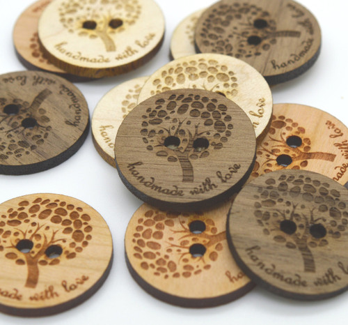 Wooden Buttons - TREE - Ideal for crochet and knitted products - laser cut and engraved to your specifications