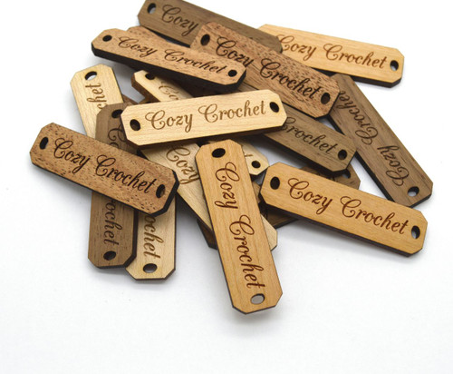 Custom Solid Wood labels 0.5 x 1.75 inches, sold in sets of 25 - Let us customize them for you or use our Designer tool