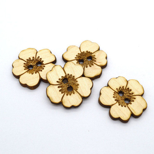 """Dozen Wooden Flower Shaped Buttons 1"""" - Ideal for crochet and knitted products"""