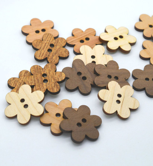"Flower Shaped Wooden Buttons - Ideal for crochet and knitted products - One Dozen 1"" buttons"