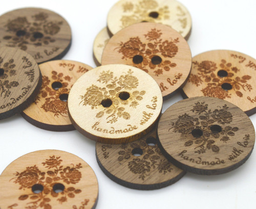 Wooden Buttons - ROSE -Ideal for crochet and knitted products - laser cut and engraved to your specifications
