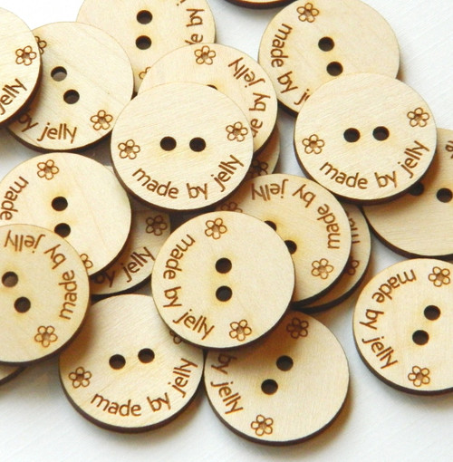 "50 Wooden Buttons - 1"" size - Ideal for crochet and knitted products - laser cut and engraved to your specifications"