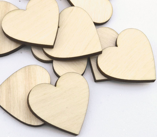 50 Laser cut wooden hearts