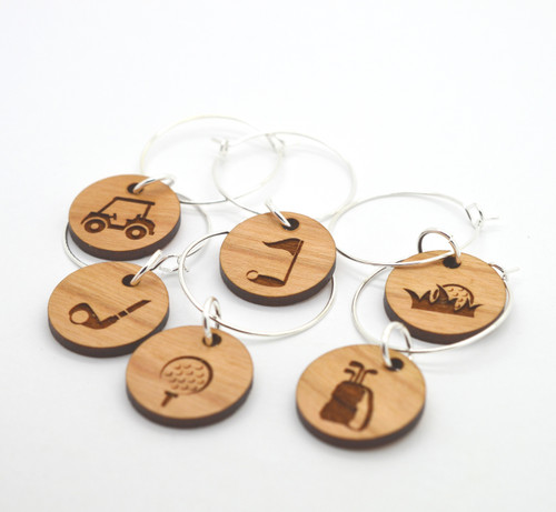 GOLF Edition : Engraved Wine Glass Charms made from Cherry Wood - Set of 6
