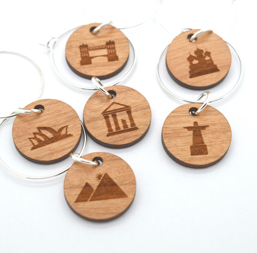 Wine Glass Charms - Laser Engraved - World Landmarks Edition - Set of 6