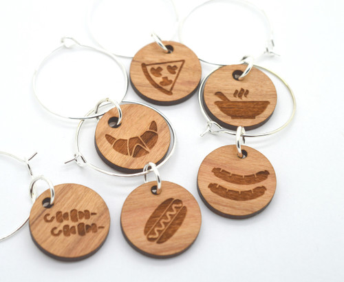 Laser Engraved Wine Glass Charms - Foodie Edition - Set of 6