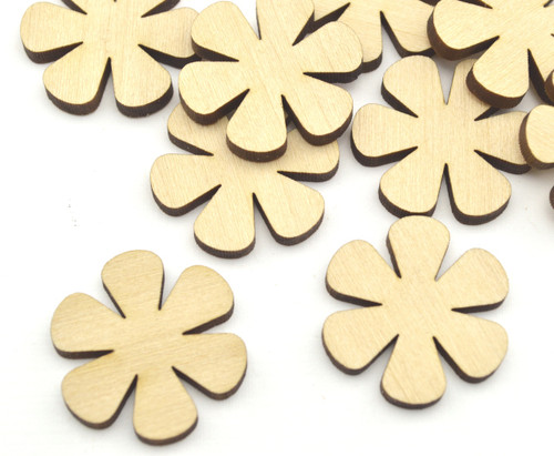 50 Laser cut wooden flower shapes