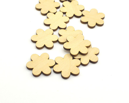 50 Laser cut wooden flower shapes - II