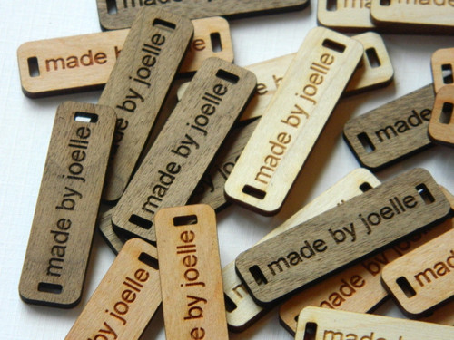 Laser Engraved Wooden Product Tags - 0.5 x 1.75 Inches