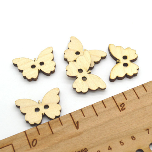 """Dozen Wooden Butterfly Shaped Buttons 1"""" - Ideal for crochet and knitted products"""