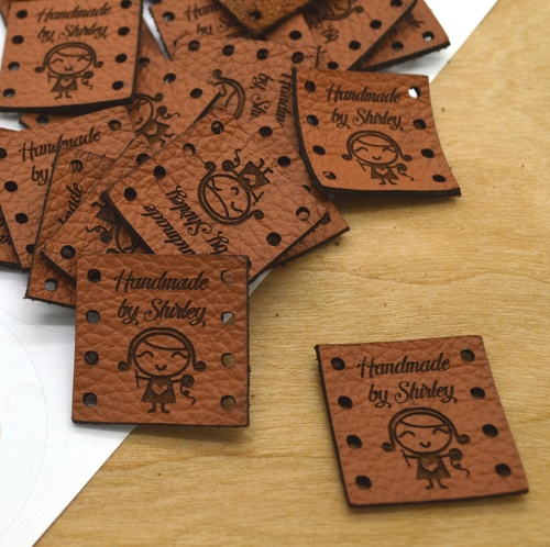50 Laser engraved labels 1x1 inches - made from real leather - Leather labels, Personalized leather labels, Leather tags , Custom Labels