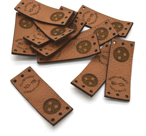 30 Laser engraved labels 0.75x2 inches - made from real leather - Leather labels, Personalized leather labels, Leather tags , Custom Labels
