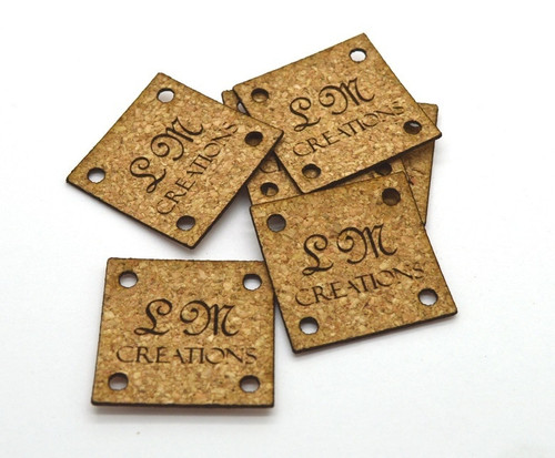 Cork Fabric Product Labels 1x1 inches, sold in sets of 25 - Let us customize them for you or use our Designer tool