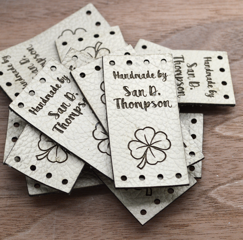 10 Laser engraved labels 1x2 inches - made from real leather - Leather labels, Personalized leather labels, Leather tags , Custom Labels