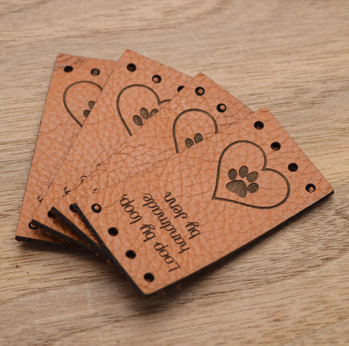 100 Laser engraved labels 1x2 inches - made from real leather - Leather labels, Personalized leather labels, Leather tags , Custom Labels