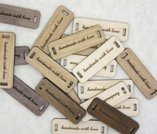 "Custom solid wood labels 0.5"" x 1.5"", sold in sets of 25 - Let us customize them for you or use our Designer tool"