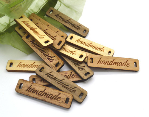 """Custom solid wood labels 0.4"""" x 1.6"""", sold in sets of 25 - Let us customize them for you or use our Designer tool"""