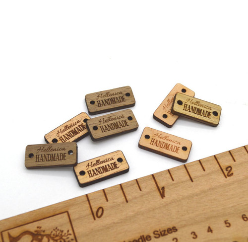 50 Miniature Wooden Product Tags - Customized with your text - 0.375 x 0.8 Inches - laser cut and engraved