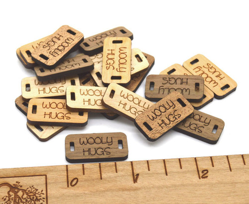 Mini Custom Solid Wood labels 0.5 x 1 inches, sold in sets of 25 - Let us customize them for you or use our Designer tool