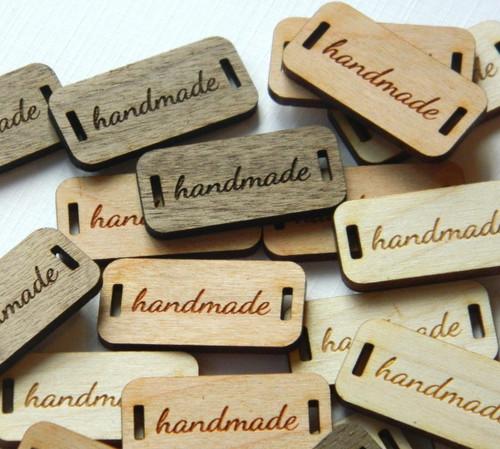 Custom Solid Wood labels 0.6 x 1.25 inches, sold in sets of 25 - Let us customize them for you or use our Designer tool