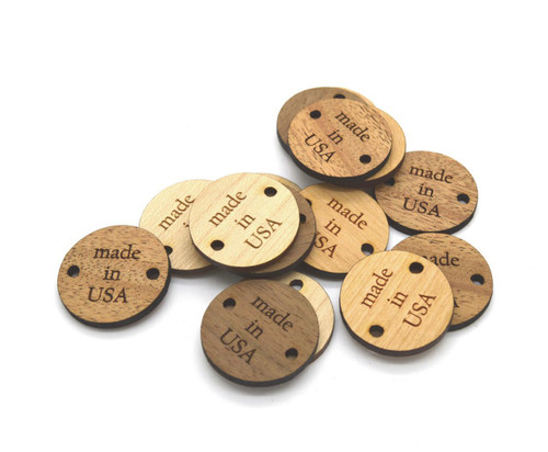 """Custom Solid Wood Round 1"""" tags, sold in sets of 25 - Let us customize them for you or use our Designer tool"""
