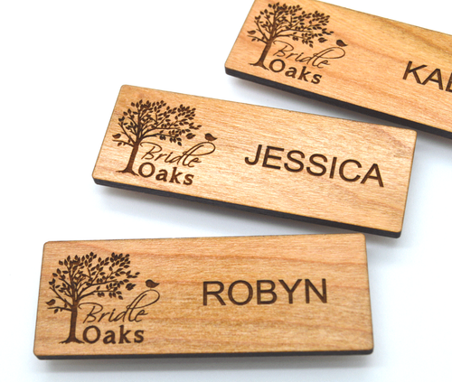 Wooden Name Badges 3x1.125 Inches - Laser engraved , with magnetic holder - Let us customize them for you or use our Designer tool