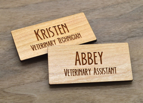 Wooden Name Badges 3x1.5 Inches - Laser engraved , with magnetic holder - Let us customize them for you or use our Designer tool
