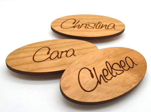 Oval Wooden Name Badges 3x1.75 Inches - Laser engraved , with magnetic holder - Let us customize them for you or use our Designer tool