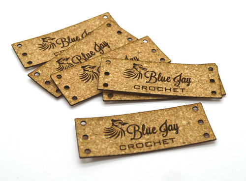Cork Fabric Product Labels 0.75 x 2 inches, sold in sets of 25 - Let us customize them for you or use our Designer tool