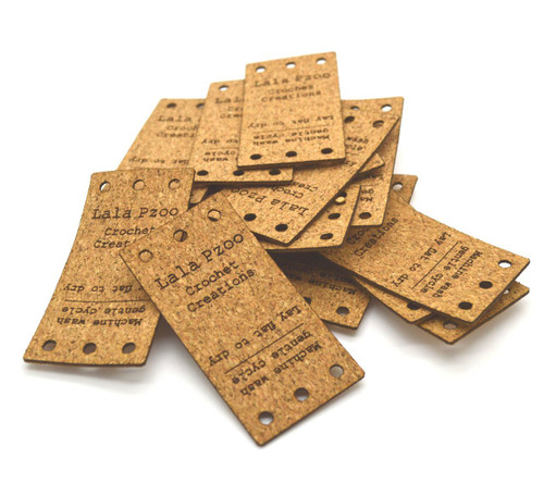 Cork Fabric Product Labels 1x2 inches, sold in sets of 25 - Let us customize them for you or use our Designer tool