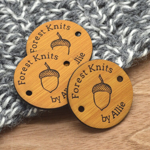Custom Faux Leather round labels, 1.25 inches, sold in sets of 25 - Let us customize them for you or use our Designer tool
