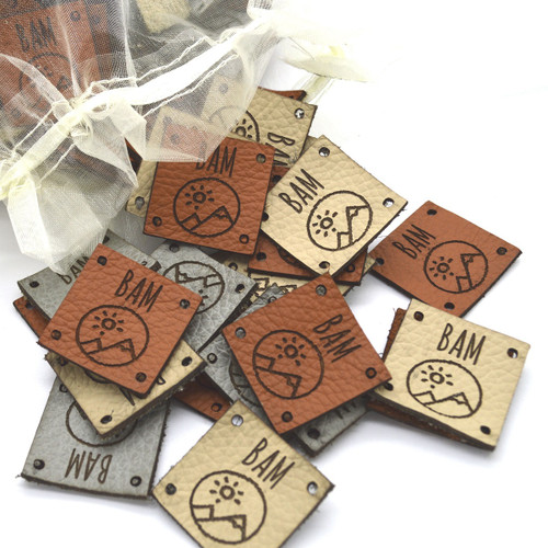 """Custom Genuine Leather square labels, 1"""" x 1"""", sold in sets of 25 - Let us customize them for you or use our Designer tool"""