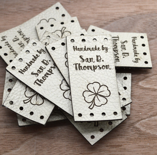 """Custom Genuine Leather square labels, 1"""" x 2"""", sold in sets of 25 - Let us customize them for you or use our Designer tool"""