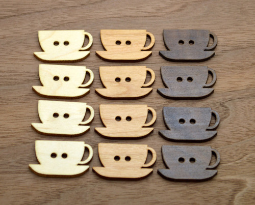 Cup Cozy buttons - set of 12 buttons made from solid wood - Ideal for hand made items