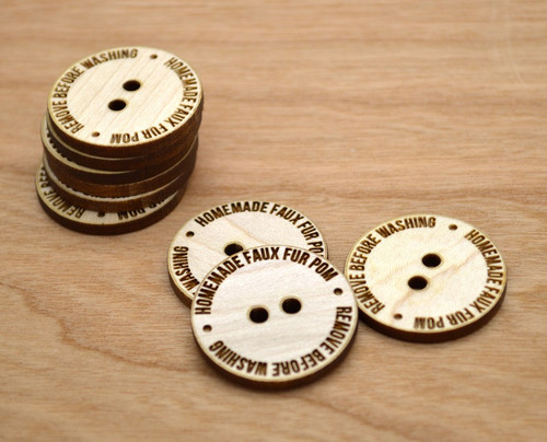 "50 Wooden Buttons 1"" - Handmade Pom Buttons - Ideal for crochet and knitted products"