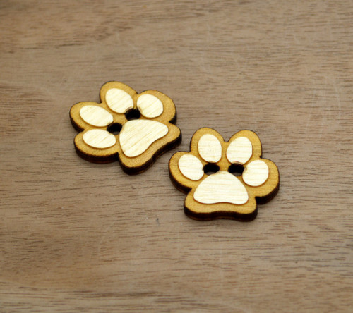 """20 Wooden Buttons 1"""" - Paw Buttons - Ideal for crochet and knitted products"""