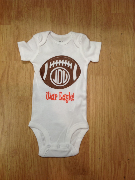 Baby bodysuit football monogram