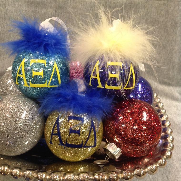 Alpha Xi Delta Glitter Glass Ornament