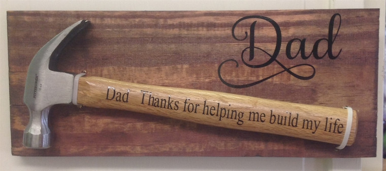 dad thanks for helping me build my life hammer wooden sign