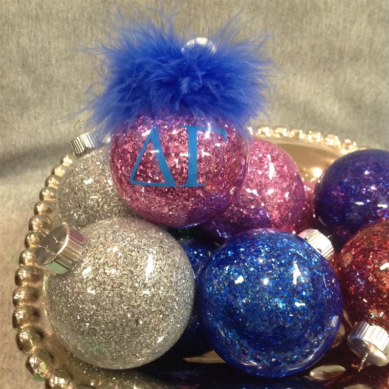Delta Gamma Glittered Glass Ornament